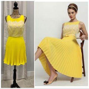 Eva Franco Lemon Amour yellow pleated dress 8